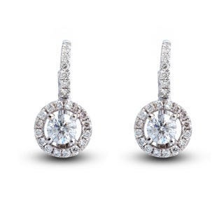 14k White Gold 1ct TDW Diamond Halo Leverback Earrings (I-J, I1-I2)