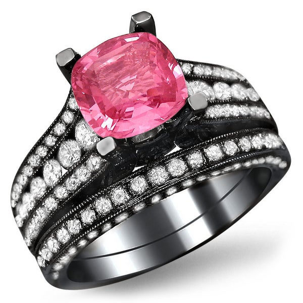Noori 18k Black Gold 1 7 8ct TDW White Diamond and Cushion Cut Pink Sapphire