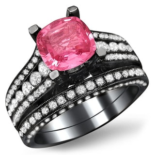 Noori 18k Black Gold 1 3/5 ct TDW White Diamond and Cushion-cut Pink Sapphire Engagement Ring Bridal Set