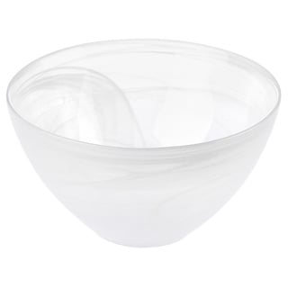 Mouth-blown 12-inch White/ Clear Glass Bowl