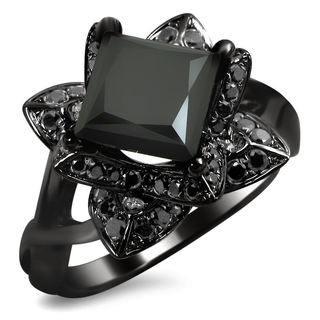 14k Black Gold 2ct TDW Black Princess-cut Diamond Lotus Ring
