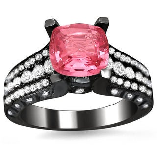 18k Black Gold 1 1/0ct TDW Round-cut Diamond and Cushion-cut Pink Sapphire Engagement Ring (E-F, VS1-VS2)