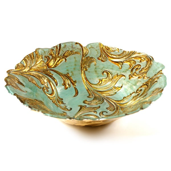 Vanessa Gold/ Turquoise Embossed Floral Serving Bowl