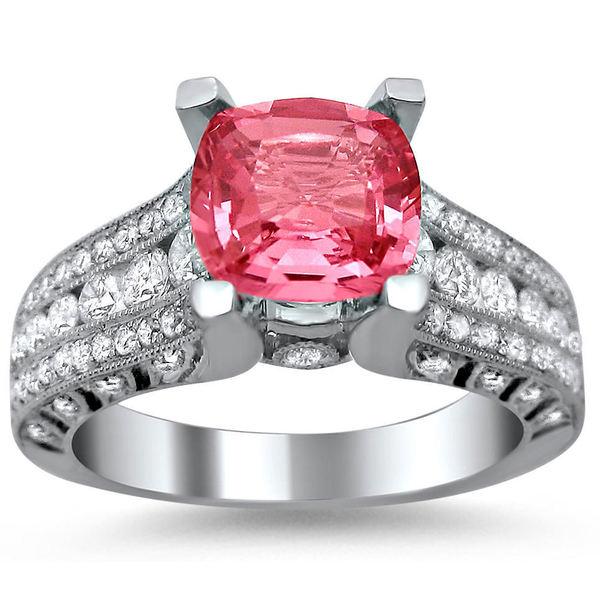 Noori 18k White Gold 1 1/10ct TDW Diamond and Cushion-cut Pink Sapphire Engagement Ring (E-F, VS1-VS2)