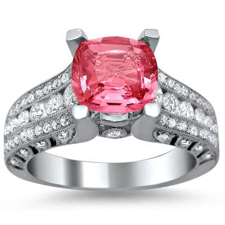18k White Gold 1 1/10ct TDW Diamond and Cushion-cut Pink Sapphire Engagement Ring (E-F, VS1-VS2)