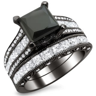 18k Black Gold 4 3/4ct TDW Black Princess Cut Diamond Bridal Set