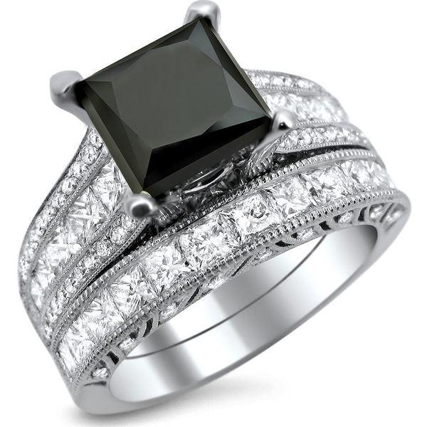 18k White Gold 4 3 4ct TDW Black and White Princess cut Diamond Engagement Ri
