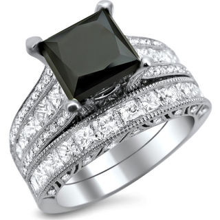Noori 18k White Gold 4 3/4ct TDW Black and White Princess-cut Diamond Engagement Ring Bridal Set