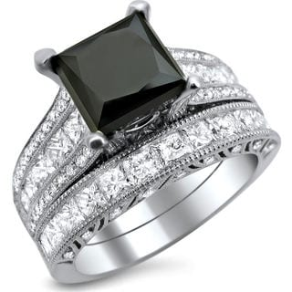 18k White Gold 4 3/4ct TDW Black and White Princess-cut Diamond Engagement Ring Bridal Set (E-F, VS1-VS2)