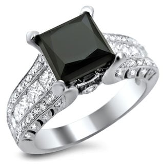 18k White Gold 3 2/5ct TDW Black Princess-cut Round Diamond Ring