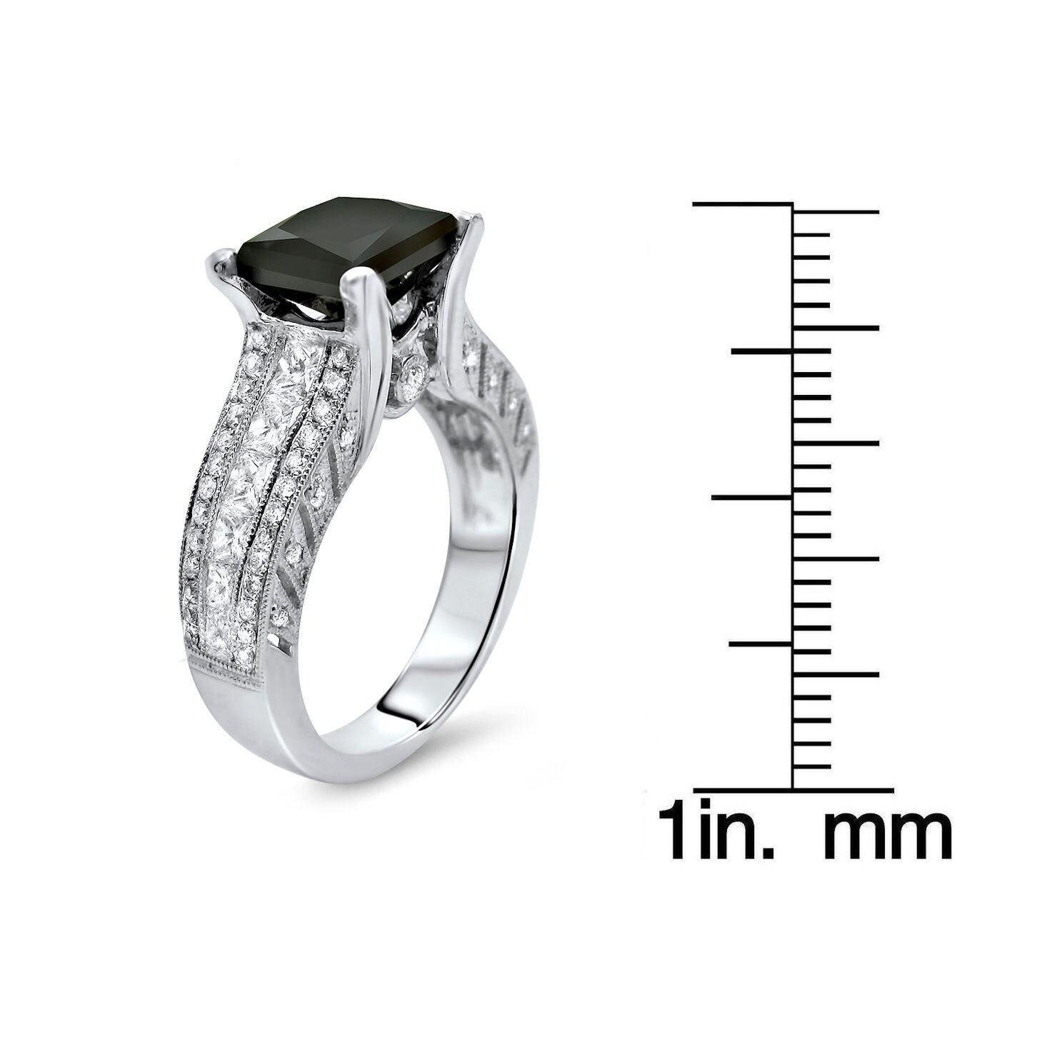 18k White Gold 3 2/5ct TDW Black Princess-cut Round Diamond Ring
