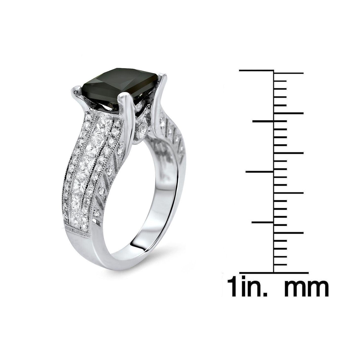 Noori Collection Noori 18k White Gold 3 2/5ct TDW Black Princess-cut Round Diamond Ring