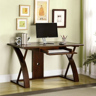 Furniture of America Sirwa Modern Keyboard Tray Cherry Finish Desk
