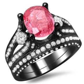18k Black Gold 3 2/5ct TGW Oval Pink Sapphire and White Diamond Bridal Set