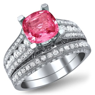 Noori 18k White Gold 1 3/5 ct TDW White Diamonds and Cushion-cut Pink Sapphire Bridal Set