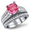 Noori 18k White Gold 1 3/5 ct TDW White Diamonds and Cushion-cut Pink Sapphire Bridal Set (E-F, VS1-VS2)