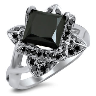14k White Gold 2ct TDW Black Diamond Lotus Engagement Ring (VS1-VS2)