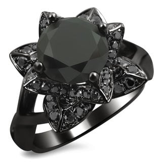14k Black Gold 2 1/3ct TDW Black Diamond Lotus Engagement Ring (VS1-VS2)
