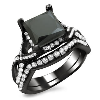 18k Black Gold 2 3/4ct TDW Black Princess-cut Diamond Bridal Set (VS1-VS2)