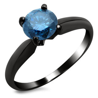 Noori 14k Black Gold 3/4ct TDW Blue Solitaire Diamond Ring (SI1-SI2)