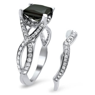 18k White Gold 2 3/4ct TDW Black Princess-cut Diamond Bridal Set (E-F, VS1-VS2)