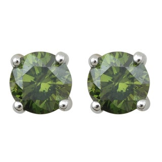 10k White Gold 1/3ct TDW Green Diamond Solitaire Earrings (I2-I3)