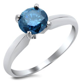14k White Gold 3/4ct TDW Blue Round-cut Diamond Solitaire Engagement Ring (SI1-SI2)