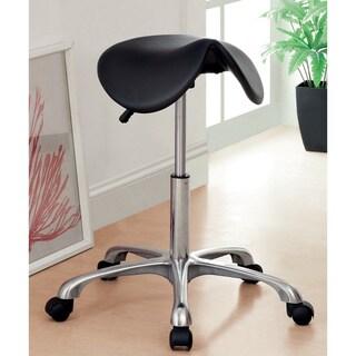 Furniture of America Shieda Ergonomical Saddle-seating Black Leatherette Office Stool