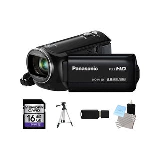 Panasonic HC-V110 HD 8.9MP Black Camcorder 16GB Bundle