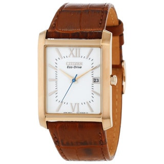 Citizen Men's Eco-Drive Brown Leather Strap Watch