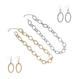 NEXTE Jewelry Hammered Ovals Chain Necklace with Bonus Earrings