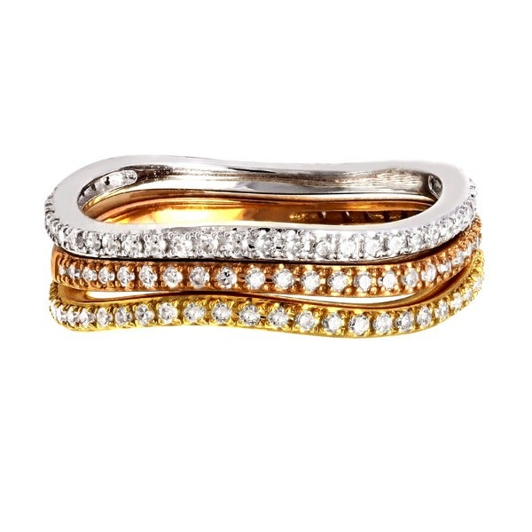 Beverly Hills Charm 14k Gold 1/6ct TDW Stackable Curved Diamond Band Ring (H-I, SI2-I1)
