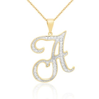 Finesque Yellow Gold Overlay Diamond Accent Initial Necklace