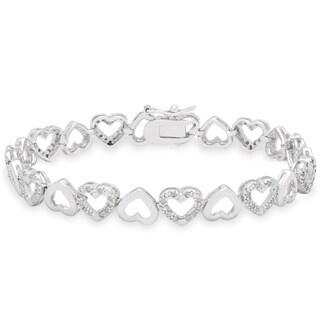Finesque Sterling Silver 1ct TDW Heart Link Bracelet (I-J, I2-I3)