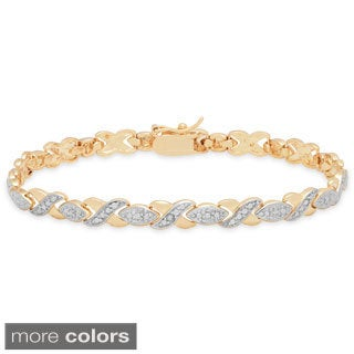 Finesque 18K Gold Overlay Diamond Accent XOXO Bracelet
