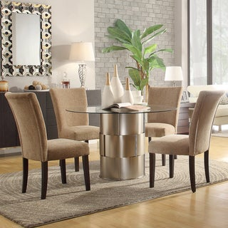 Kona 5-piece Carmel Chenille Chrome Finish Dining Set
