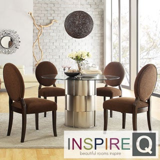 INSPIRE Q Elbridge 5-piece Woven Drum Chocolate Chenille Dining Table