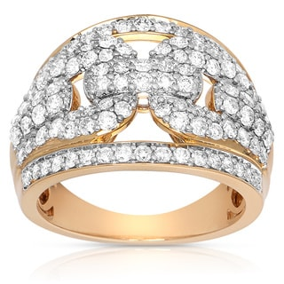 14k Yellow Gold 1 1/2ct TDW Diamond Pave Buckle Ring (H-I, I1-I2)