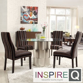 INSPIRE Q Elbridge 5-piece Woven Drum Dark Tonal Stripe Dining Table