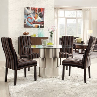 Kona 5-piece Stripe Chrome Finish Dining Set