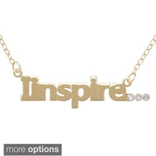 "Amanda Marmer Sterling Silver Inspirational Words ""IInspire"" Diamond Accent Necklace"
