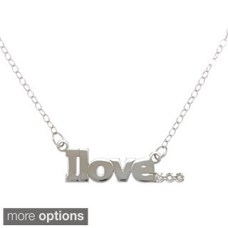 "Amanda Marmer Sterling Silver Inspirational Words ""Ilove"" Diamond Accent Necklace"