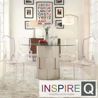 INSPIRE Q Elbridge 5-piece Woven Drum Crystal Clear Dining Set