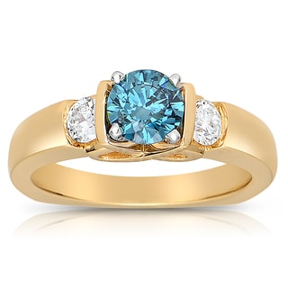 18k Yellow Gold 1ct TDW Blue and White 3-stone Diamond Ring (I1-I2)