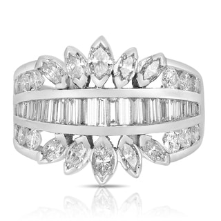 18k White Gold 2ct TDW Marquise and Baguette Diamond Anniversary Band Ring (H-I, SI3)