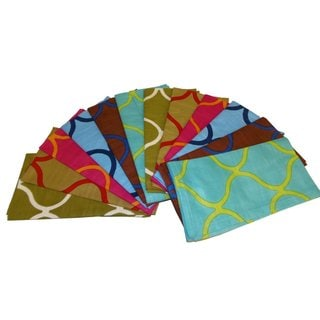 Celebration Multi-colored Assorted 12-piece Tile Printed Dinner Napkin (Pack of 12)