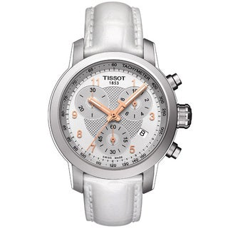 Tissot Men's T0552171603201 PRC200 Silver Dial White Leather Chronograph Watch