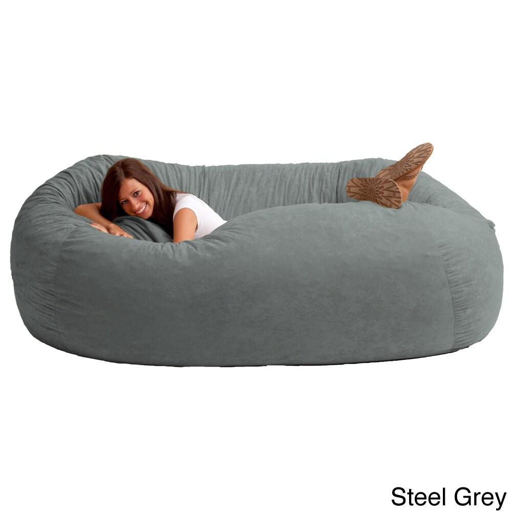 Comfort Research Fufsack Memory Foam Microfiber 7 Foot L Bean Bag Chair Grey Size Jumbo