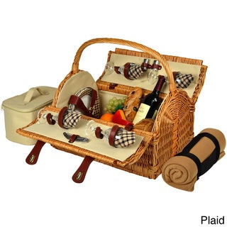 Yorkshire 4-person Willow Picnic Basket and Blanket Set