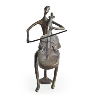 Cello Player Cast Bronze Sculpture